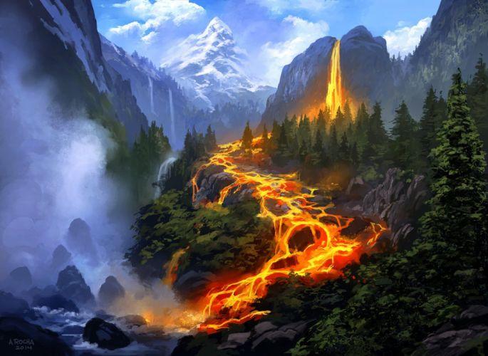fantasy mountain fire tree wallpaper