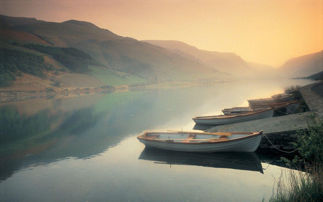 landscape beautiful lake fog wallpaper