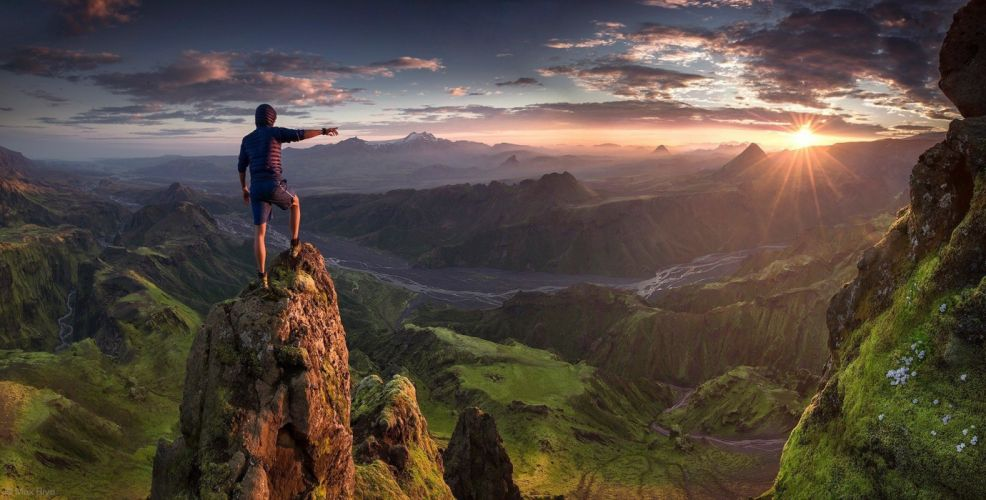 mountain people sunshine sky amazing beautiful wallpaper