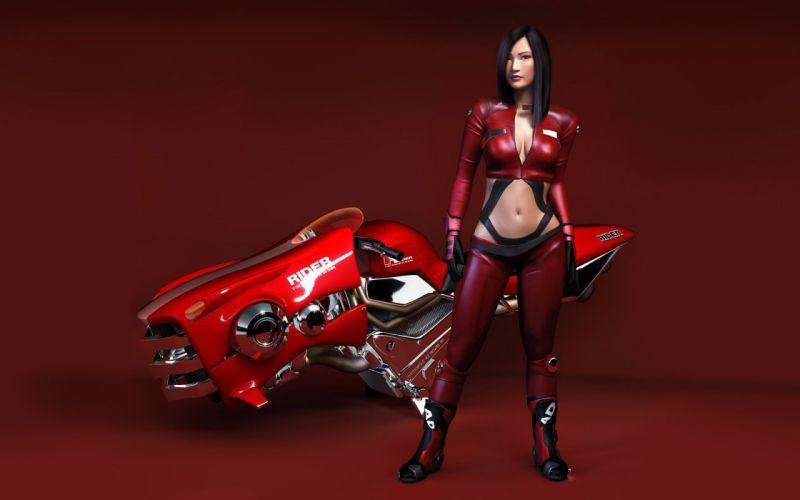 3D women girl brunette leather rider red bike wallpaper