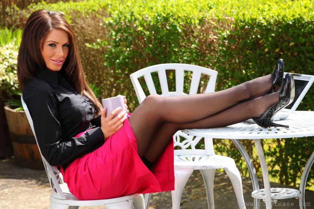 Gemma Massey women girls brunette legs pantyhose skirt wallpaper