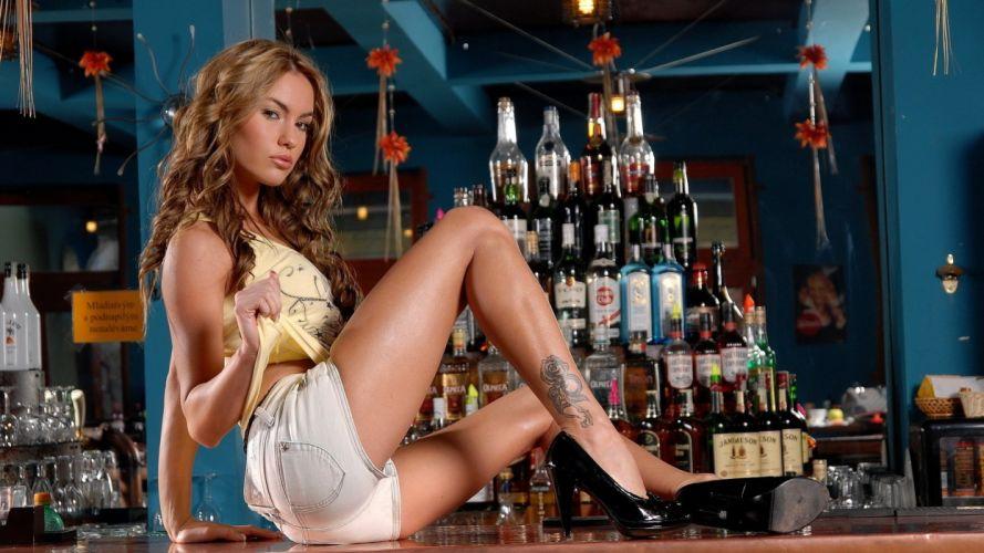 sensuality Veronika Fasterova women girls blonde shorts mike tattoo vest model wallpaper