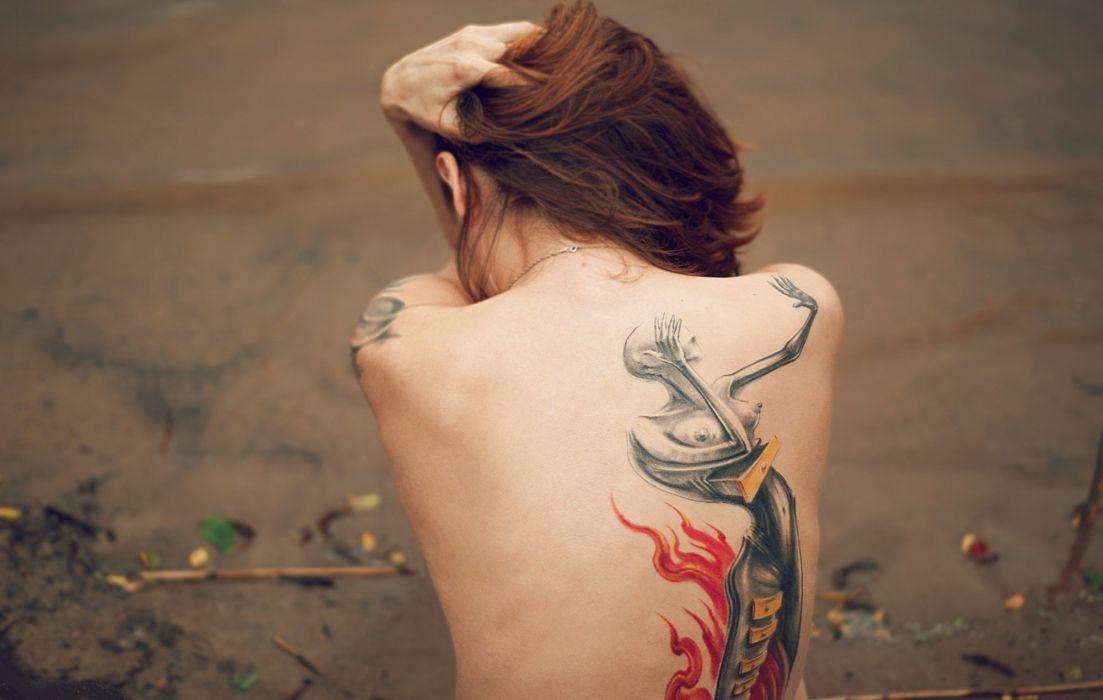 Sensuality women girls redhead back body girl tattoo beach wallpaper