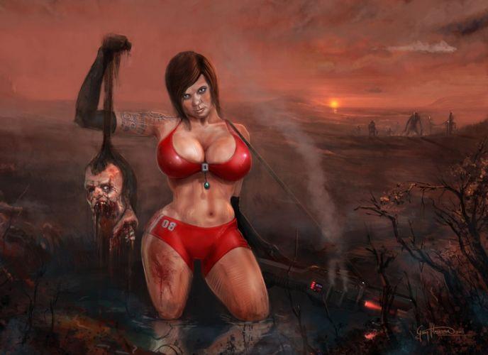 3d women girls brunette dark zombie head weapons bikini tattoo bomb wallpaper
