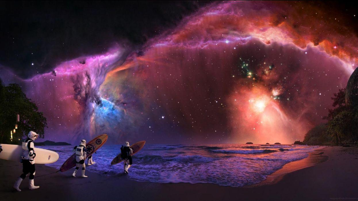 STAR WARS sci-fi futuristic artwork disney surfing ocean sea waves nebula space sky wallpaper