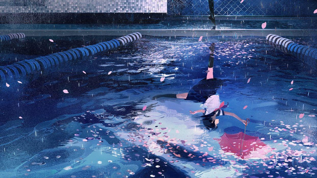 anime rain umbrella girl wallpaper