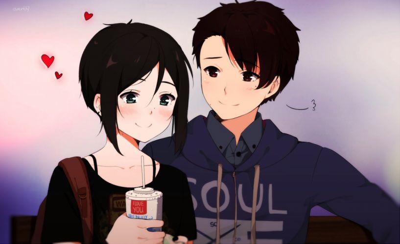 anime couple love cute girl boy wallpaper