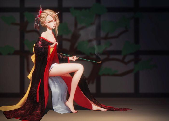 anime girl blonde beautiful wallpaper
