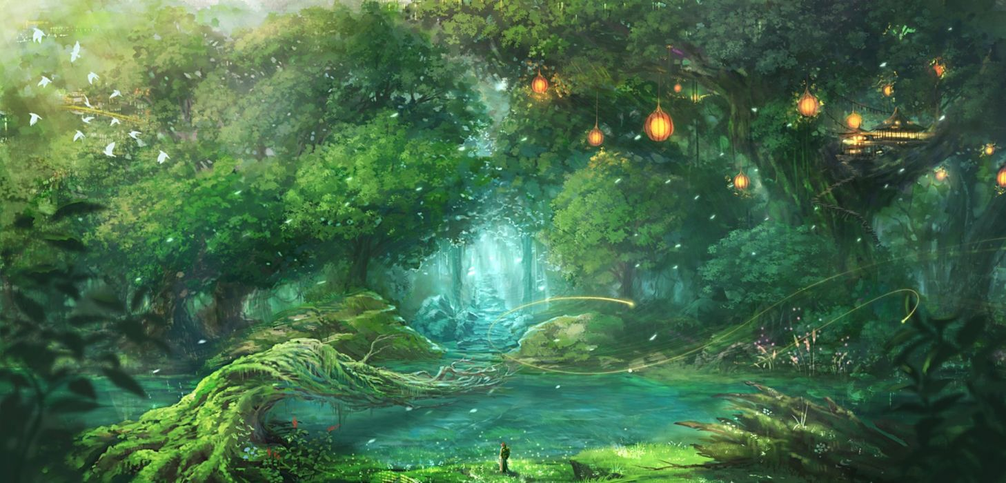 Original anime forest landscape wallpaper 1875x900 - Anime forest background ...