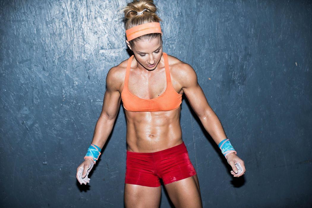 SPORTS - girl women blonde fitness exercise training belly wallpaper