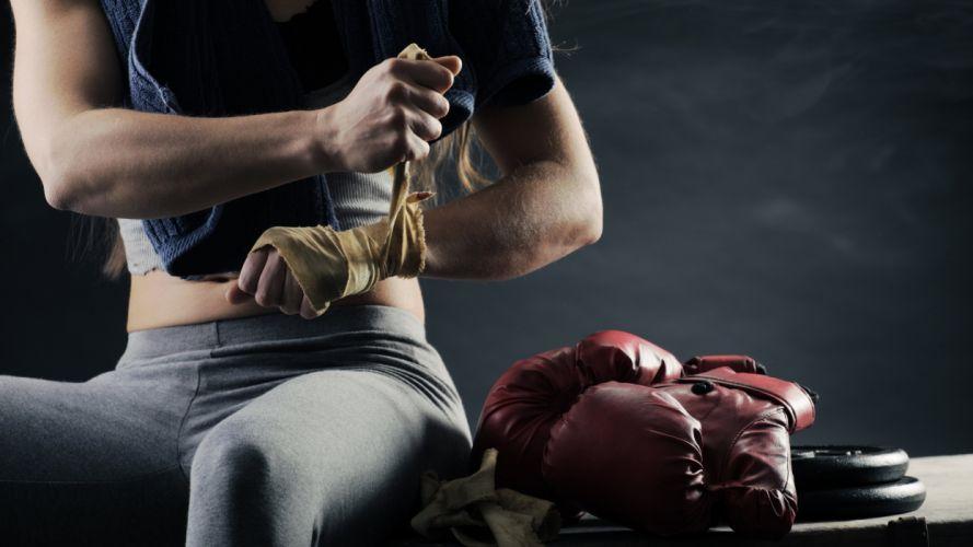 SPORTS - girl women blonde preparing exercise training boxing gloves wallpaper