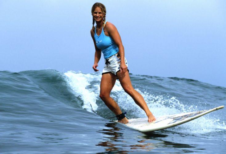 SPORTS - girl women blonde surfer wave surfboard wallpaper