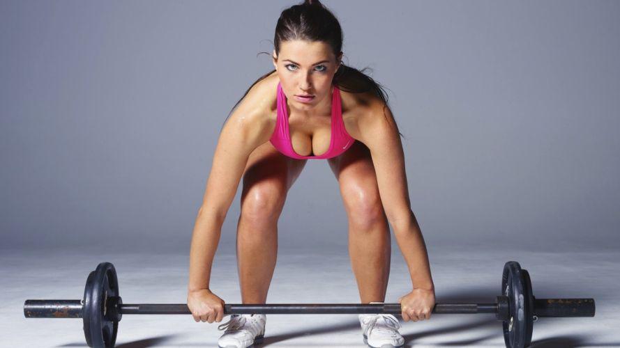 SPORTS - girl women brunette fitness exercise training athletic sweating doing dead lift wallpaper