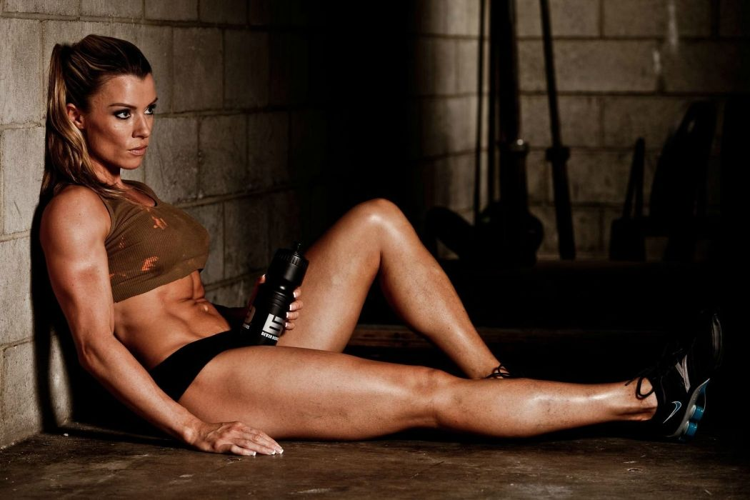 SPORTS - girl women brunette fitness exercise training athletic tired sweating relax wallpaper
