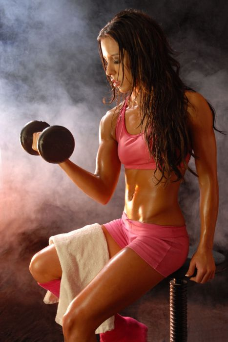 SPORTS - girl women brunette fitness exercise training dumbbells wallpaper