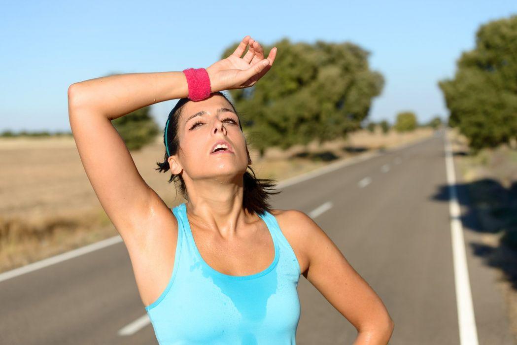 SPORTS - girl women brunette fitness exercise training tired sweating after run wallpaper