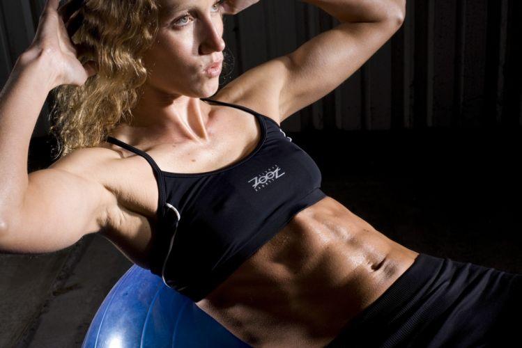 SPORTS - Maria-Crompton girl women blonde fitness exercise training abdominal ball wallpaper