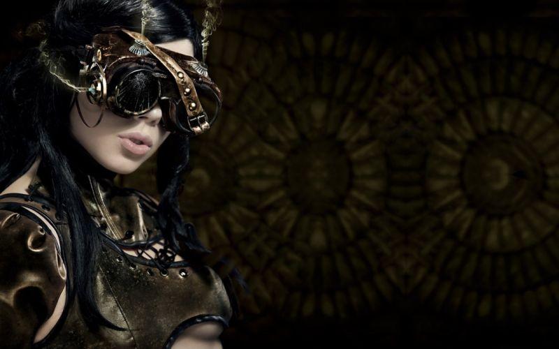 Steampunk girl women brunette wallpaper