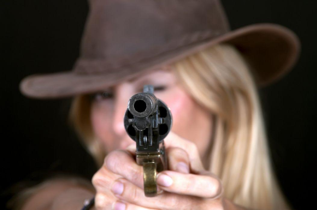 WOMEN AND GUNS - girl women blonde cowgirl pistol hat face wallpaper