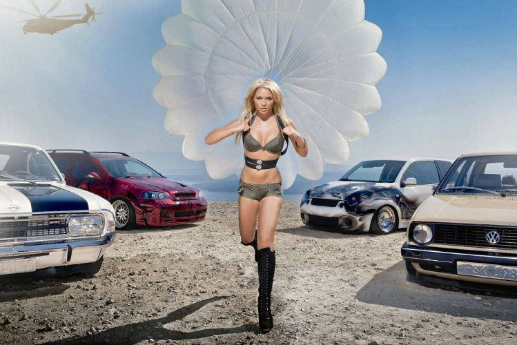 WOMEN AND MACHINES - girl women blonde skydiver cars parachute wallpaper