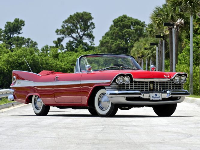Plymouth Sport Fury Convertible 1959 classic cars red wallpaper