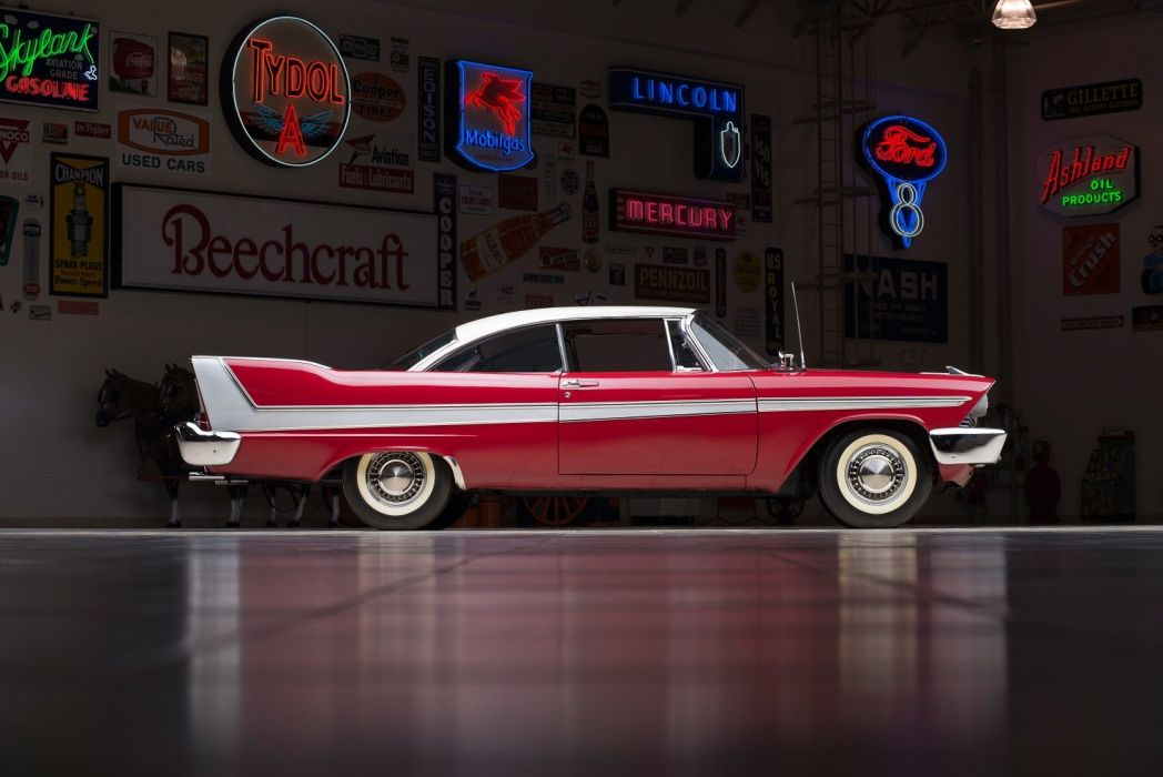 Plymouth Sport Fury Coupe 1958 classic cars red wallpaper
