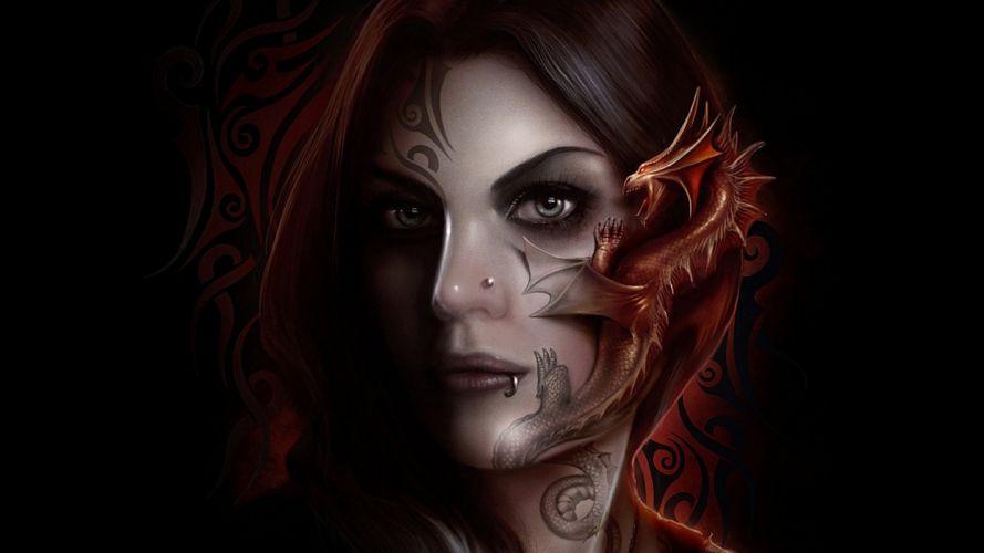 arts gothic dark tattoo alive dragon face wallpaper