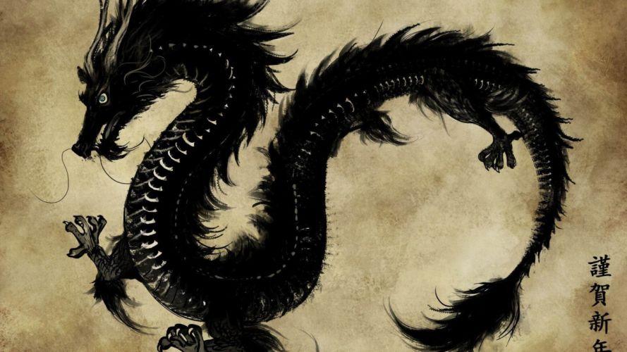 dragon black chinese vintage wallpaper