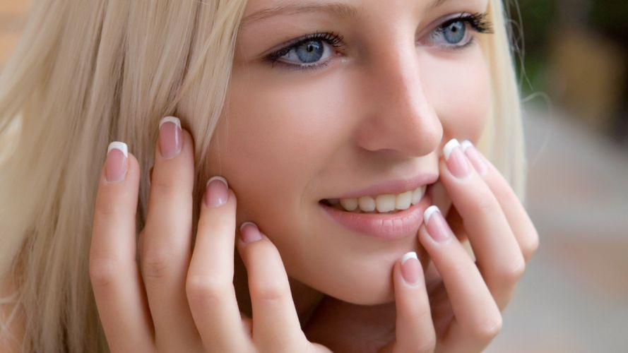 FACES - women girls blonde lips hands makeup blue eyes wallpaper