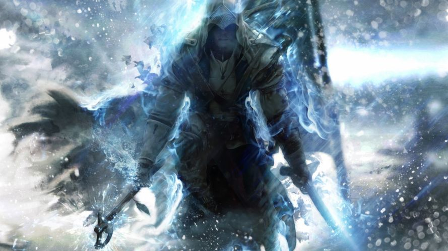 games Assassins Creed 3 blue wallpaper