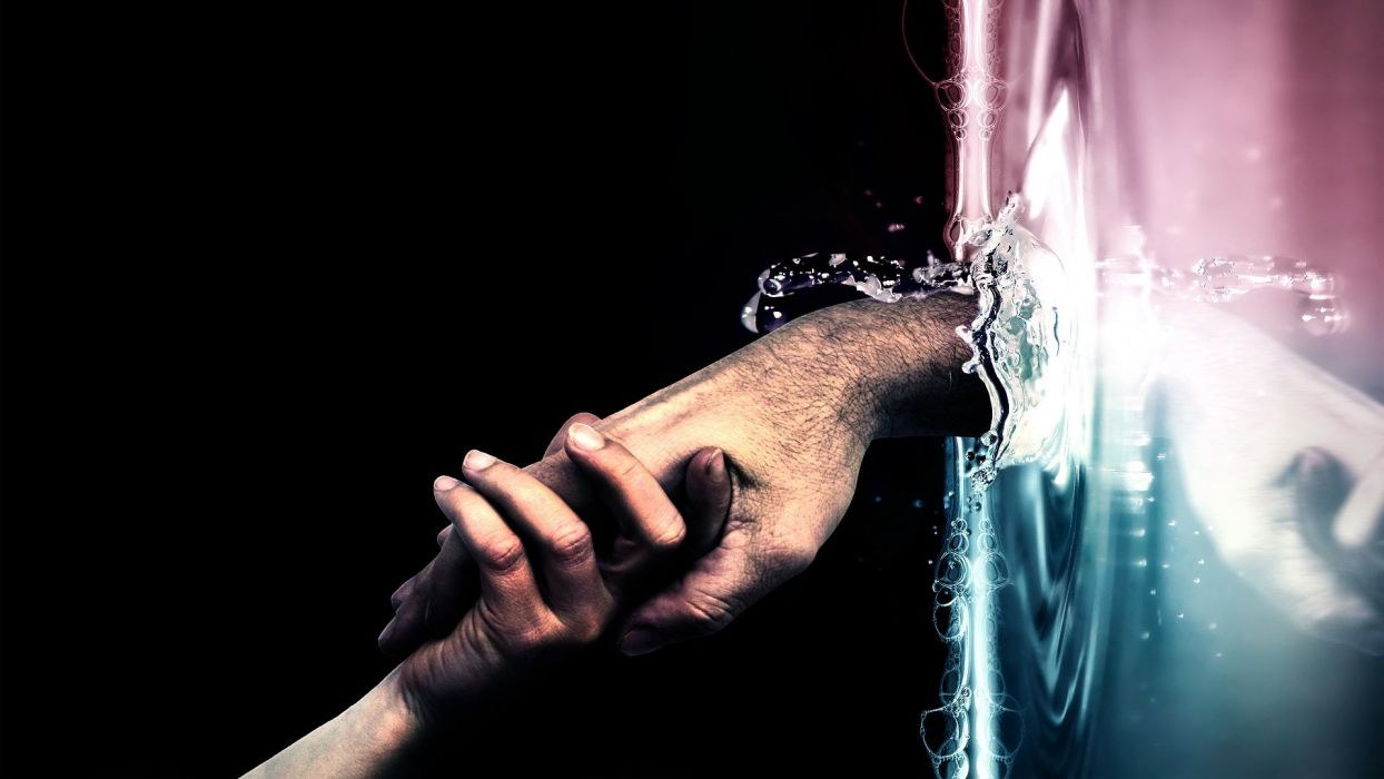 HANDS - arts abstract tight clasped water wallpaper
