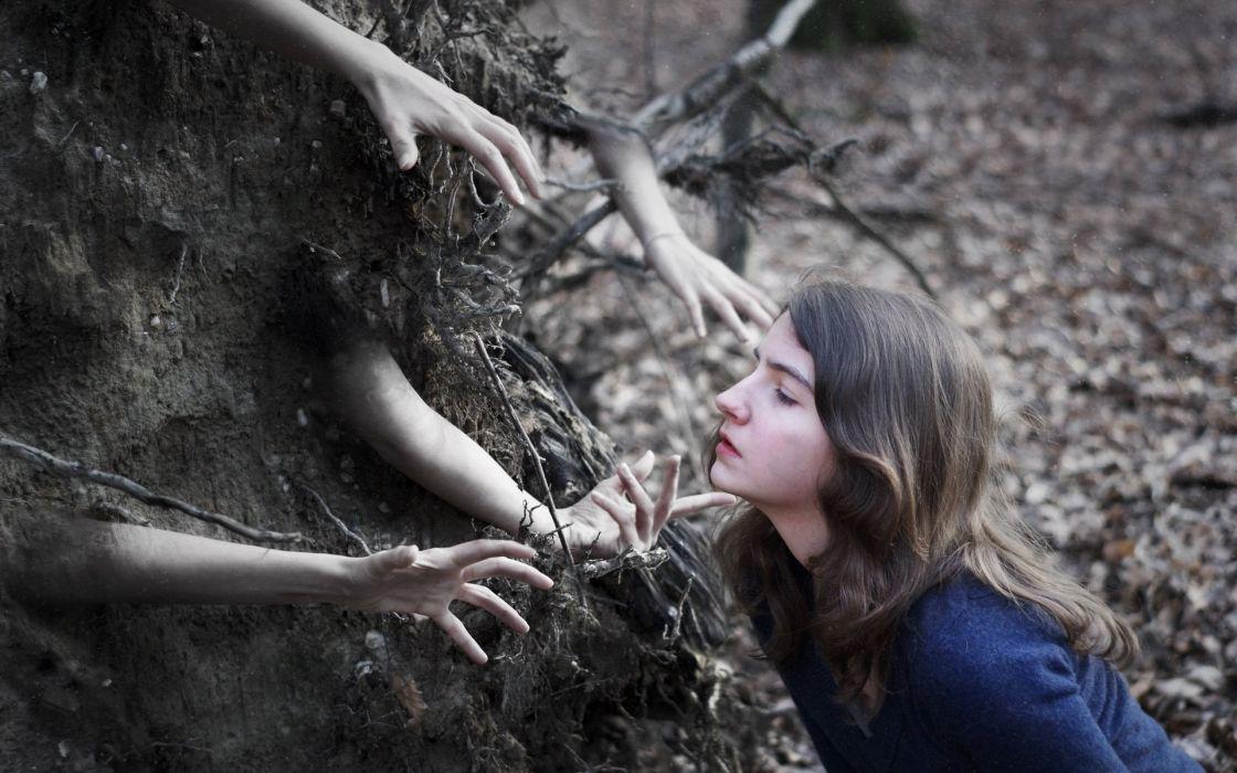 HANDS - creepy hands tree artistic creepy hands coming tree artistic wallpaper