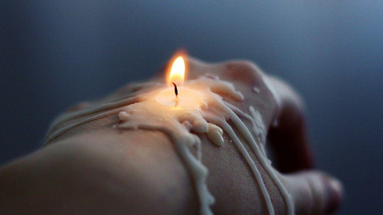 HANDS - dark candles fire light wax wallpaper