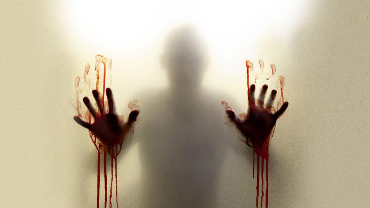 HANDS - glass blood silhouette shadows wallpaper