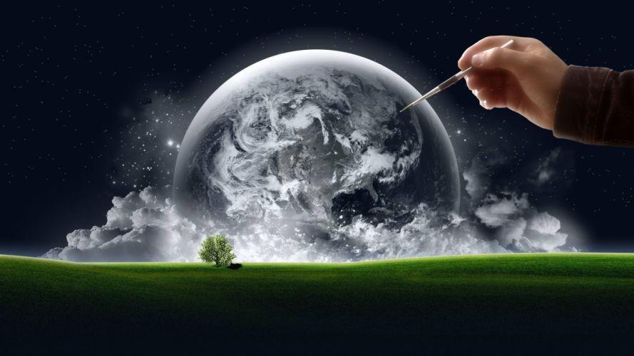 HANDS - world earth artwork grass stars clouds trees wallpaper