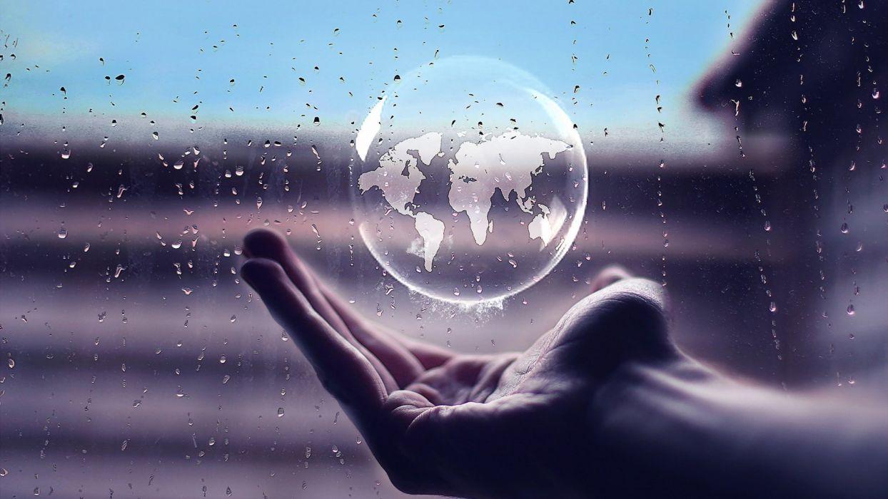 HANDS - world sphere rain transparencse wallpaper