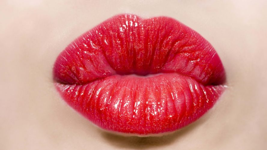 LIPS - lipstick red girl kiss close-up wallpaper
