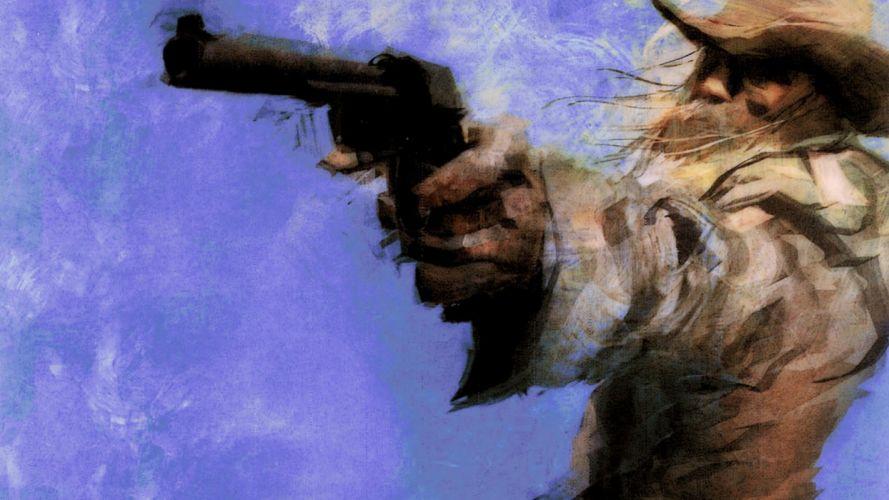 painting old west gunman cowboy revolver wallpaper