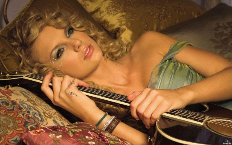 photography woman girl blonde guitar pillows wallpaper