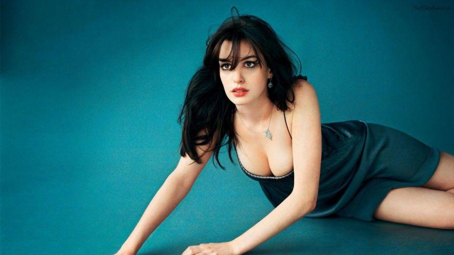 Sensuality Anne Hathaway actress neckline women girls brunette wallpaper