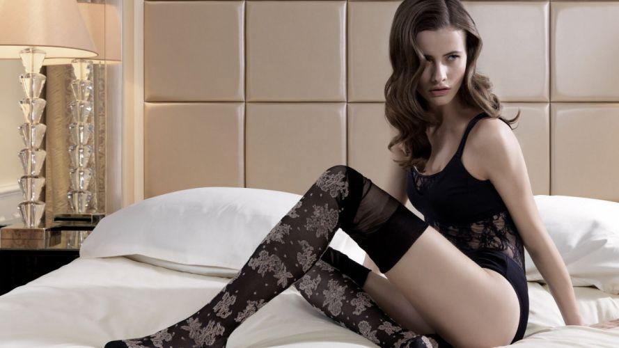 Sensuality women girls brunette bed stockings wallpaper