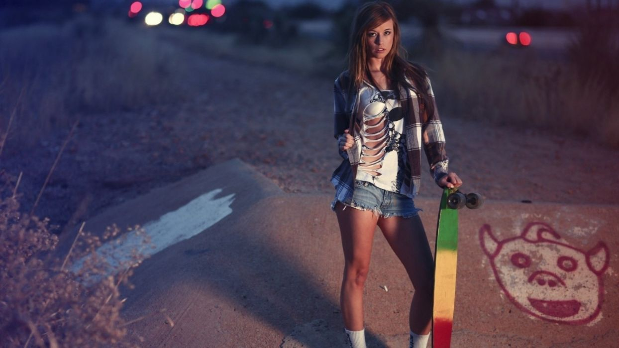 skate style shirt ripped short women girls brunette wallpaper