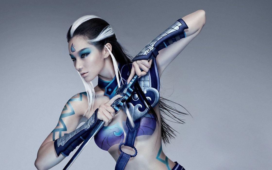 women girls brunette arts fantasy warriors style wallpaper