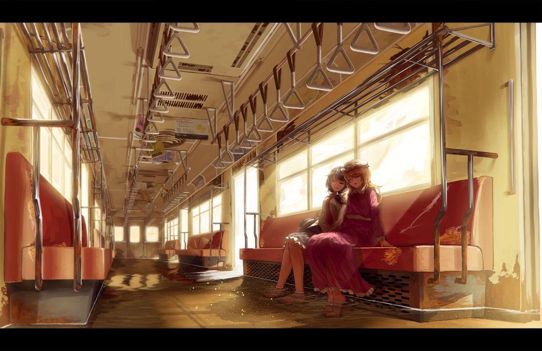 girls berabou hat maribel han scenic skirt sleeping touhou train usami renko water wallpaper