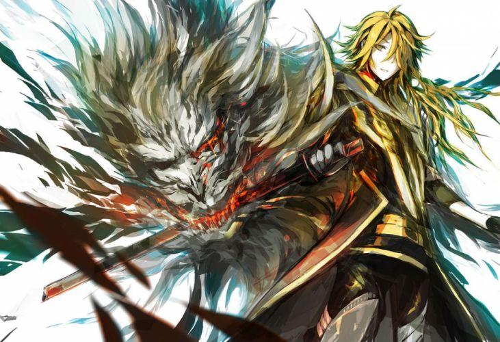 all male blonde hair long hair lowlight kirilenko male shishiou sword touken ranbu weapon wallpaper