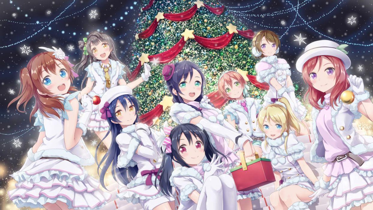 akkijin ayase eri christmas hoshizora rin koizumi hanayo kousaka honoka minami kotori nishikino maki sonoda umi toujou nozomi yazawa nico wallpaper