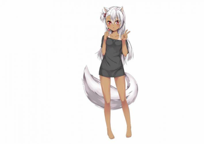 animal ears barefoot blush candy dark skin fang lollipop long hair original red eyes tail tan lines white white hair wallpaper