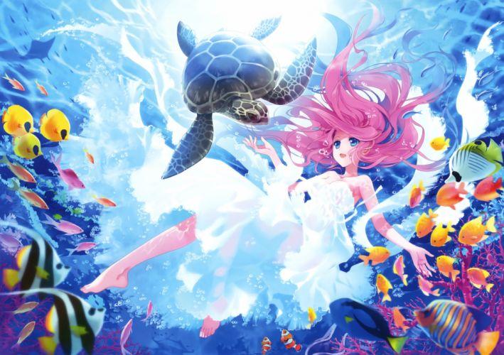 animal barefoot blue eyes carnelian dress fish long hair pink hair turtle underwater water wallpaper