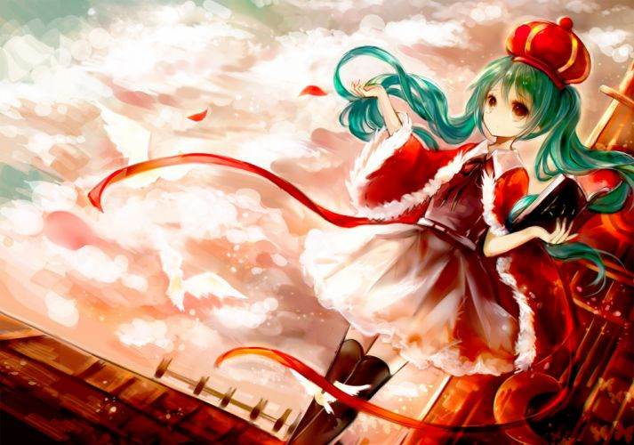 aqua hair book cape crown dress hanchan hatsune miku red red eyes thighhighs twintails vocaloid wallpaper