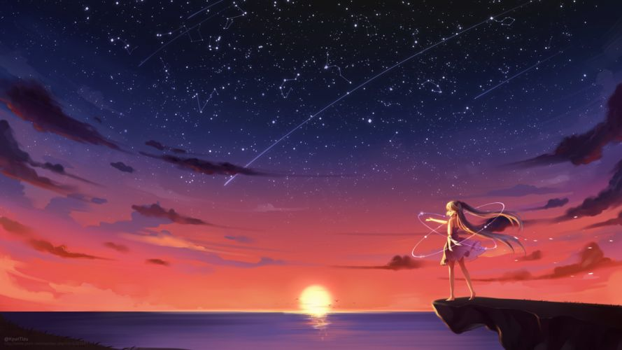 animal barefoot bird blonde hair clouds hatsune miku long hair scenic sky stars summer dress sunset twintails vocaloid water watermark wallpaper